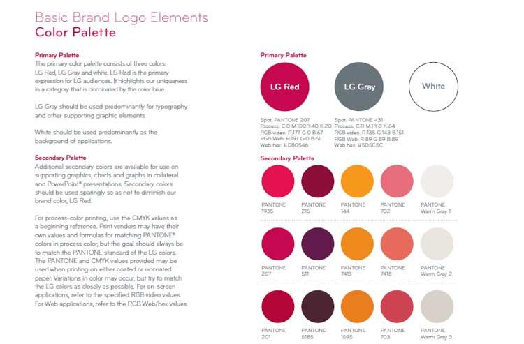 نقش طراحی هویت بصری در برند سازی چیست؟ LG corporate identity design guideline رنگ در برندسازی