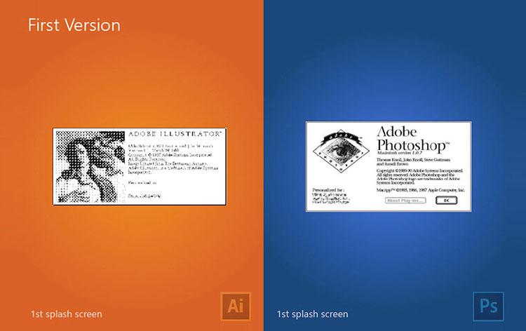 اولین ورژن نرم افزار ایلوستریتور در سال 1987 و اولین ورژن نرم افزار فتوشاپ در سال 1990