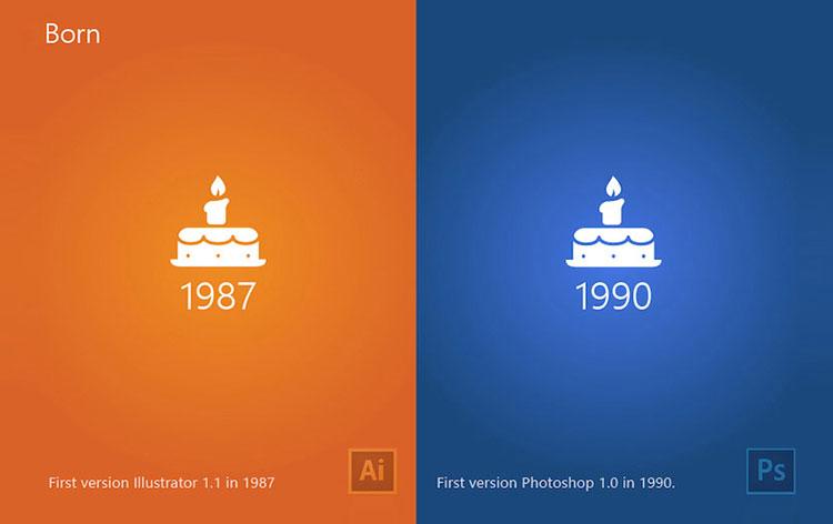 سال تولید نرم افزار فتوشاپ و ایلوستریتور